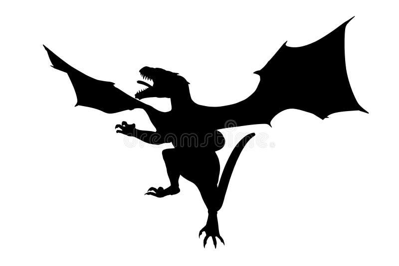Sombra do grande e dragão de voo poderoso Sua boca está largamente aberta ilustração do vetor