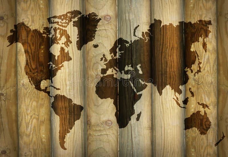 Sombra do mapa do mundo em pranchas de madeira fotografia de stock royalty free