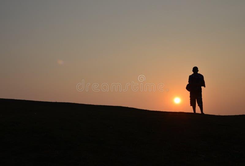 A sombra do nascer do sol fotografia de stock
