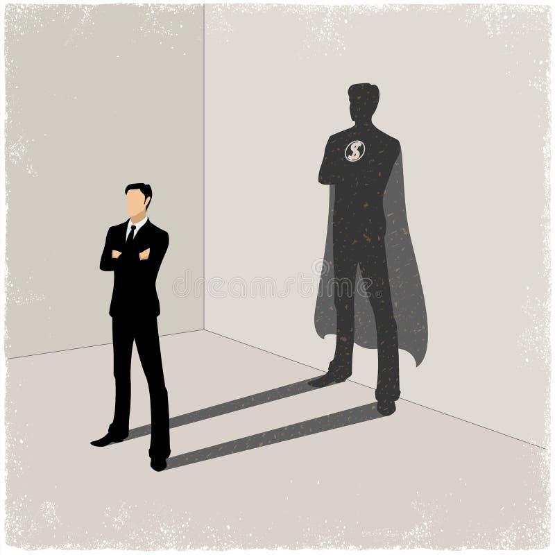 Sombra do super-herói da carcaça do homem de negócios ilustração do vetor
