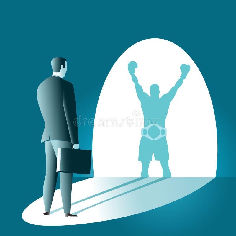 Sombra do vencedor do pugilista ilustração royalty free