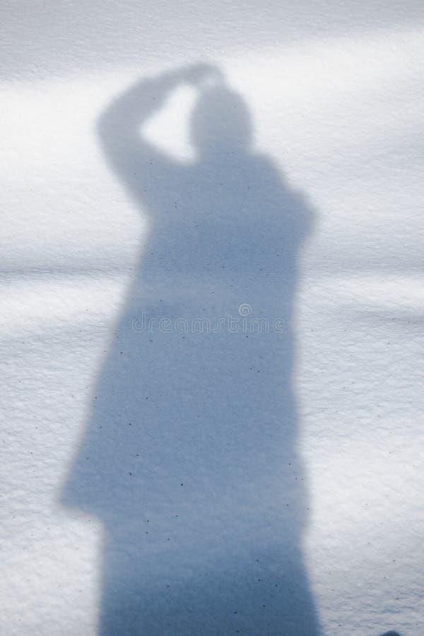 Sombra en nieve clara foto de archivo