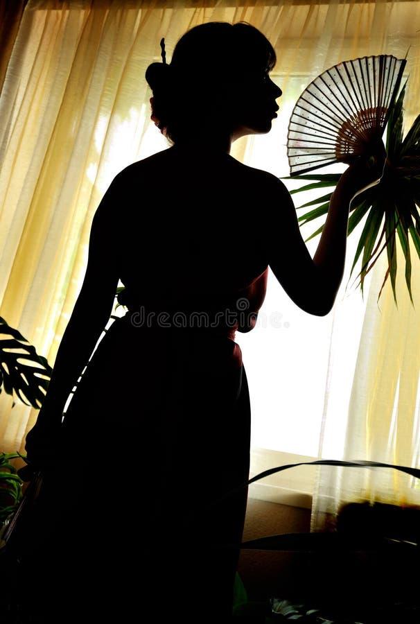 Sombra-figura de la mujer oriental fotografía de archivo libre de regalías