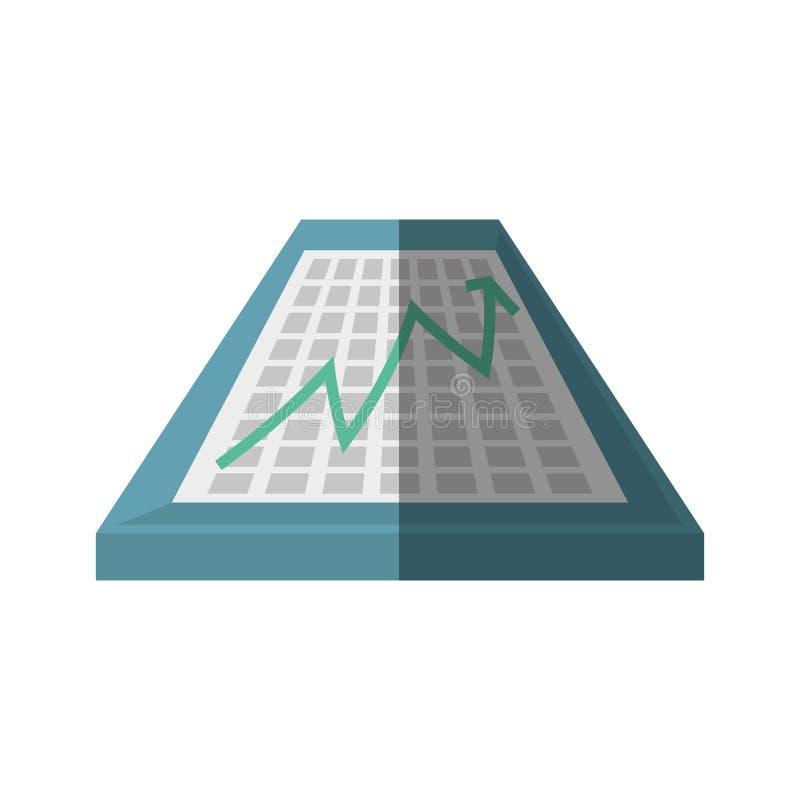 sombra financiera de la carta de crecimiento de la flecha del tablero stock de ilustración