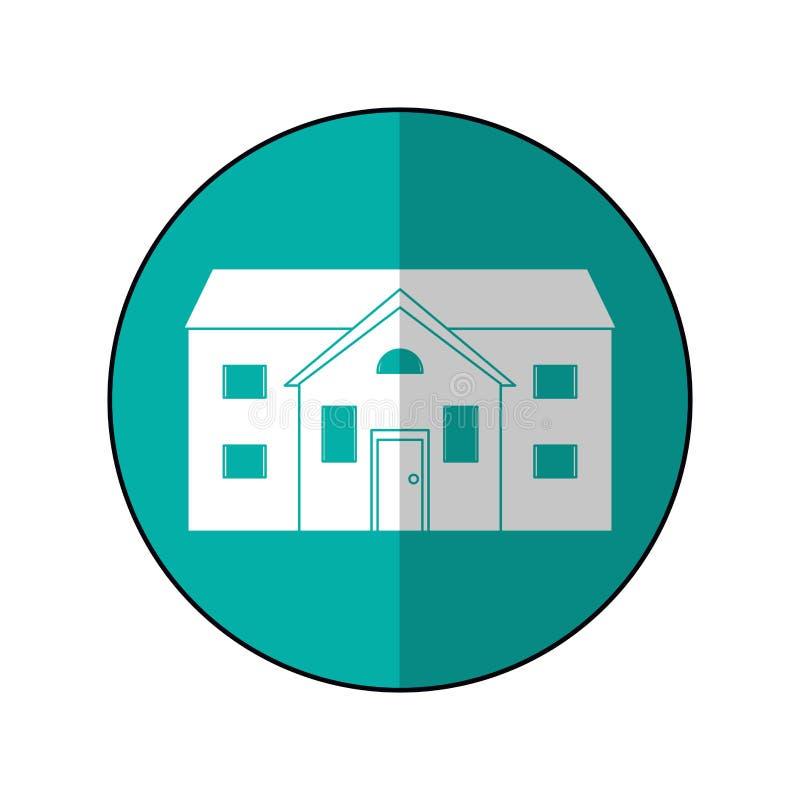 Sombra home suburbana do círculo da casa ilustração do vetor