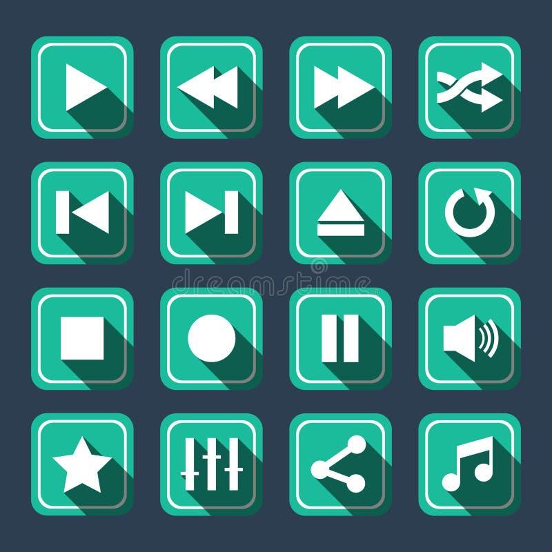 Sombra larga de Emerald Multimedia Vector Icons With ilustración del vector