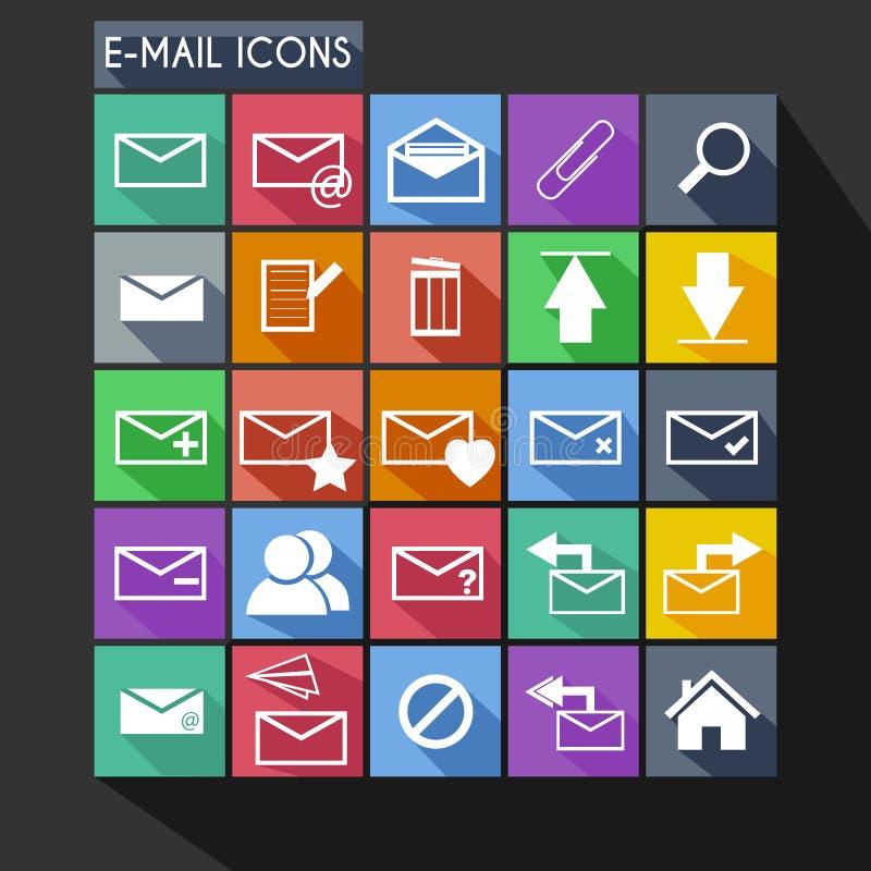 Sombra larga del icono plano del correo electrónico ilustración del vector