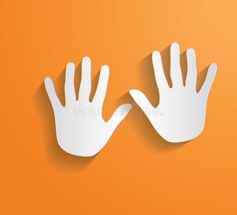 Sombra larga plana del vector de la impresión de la mano stock de ilustración