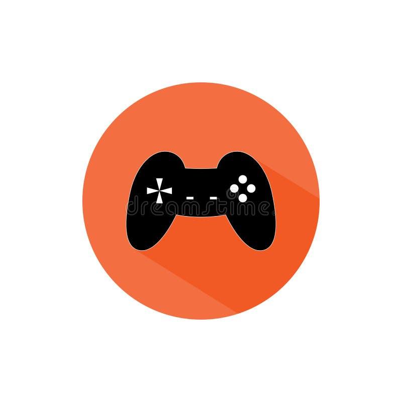 Sombra longa do ícone redondo do gamer do manche foto de stock