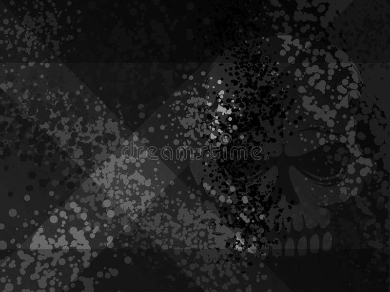Sombra melancólica cruzada del scull del peligro x oscuro de la muerte Fondo moderno manchado historieta del negro de los tonos m ilustración del vector