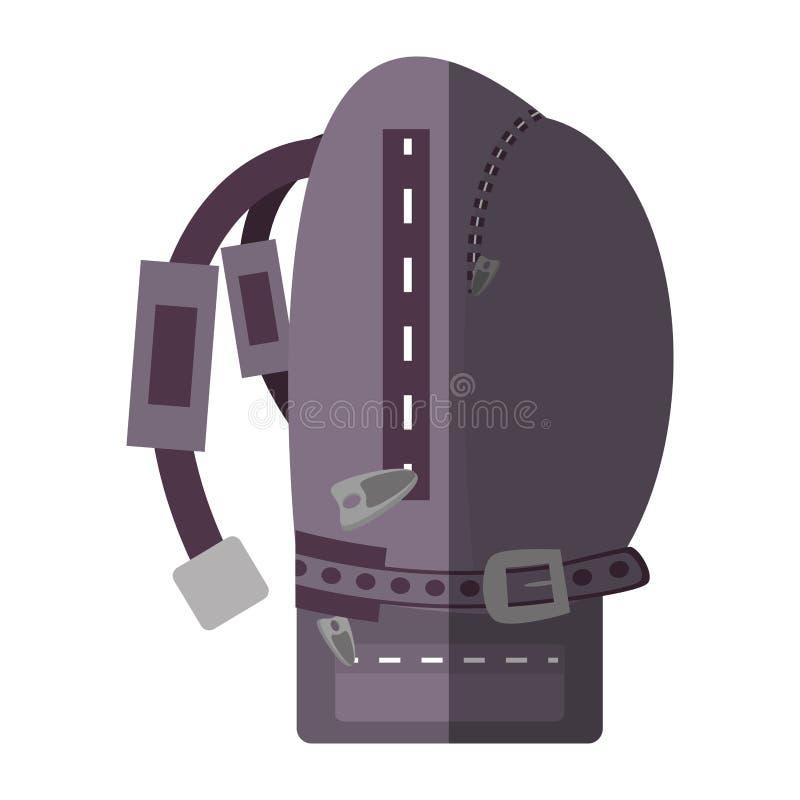 Sombra púrpura de la vista lateral del viajero del alza de la mochila ilustración del vector