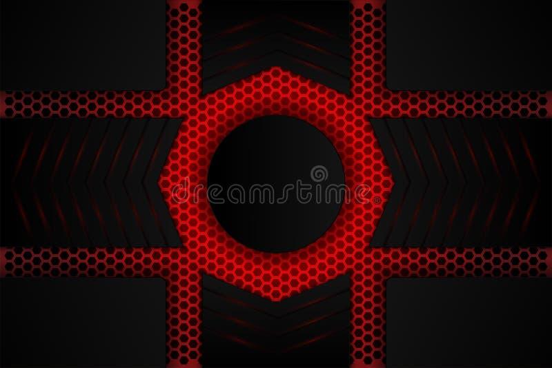 Sombra preta metálica na malha vermelha ilustração do vetor