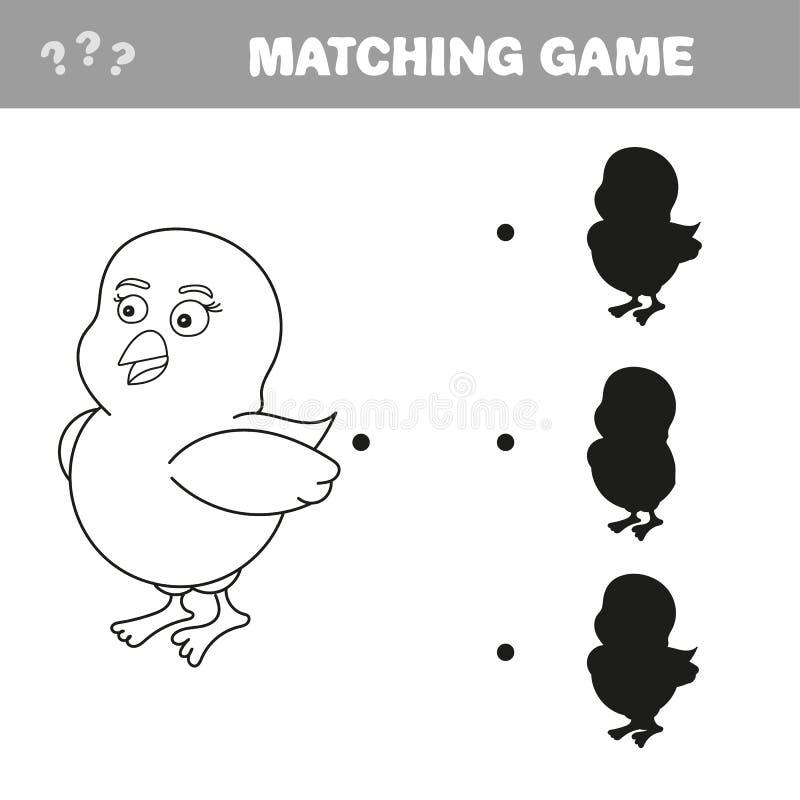 Sombra que combina o jogo educacional para crian?as Galinha dos desenhos animados ilustração royalty free
