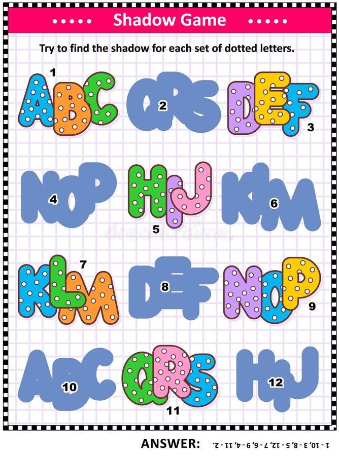 Sombra que hace juego el juego con las letras punteadas de ABC para los niños stock de ilustración