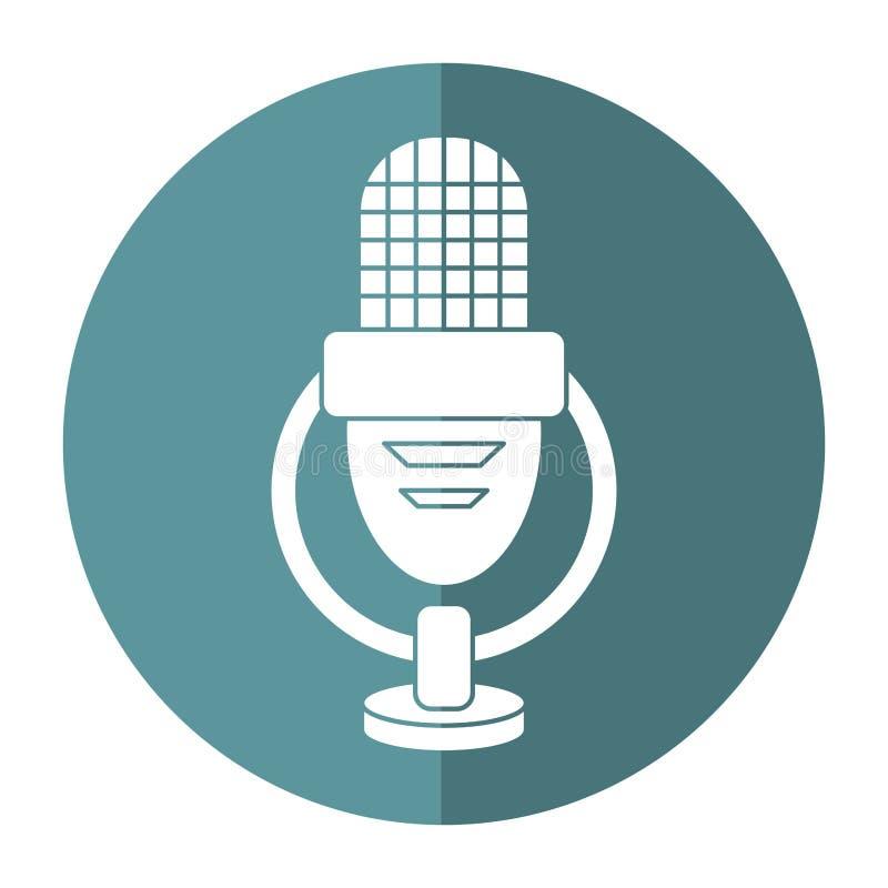 Sombra retra del icono de la voz del micrófono ilustración del vector