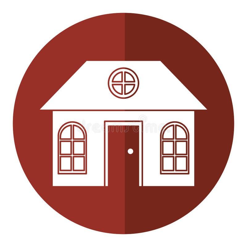 Sombra suburbana arquitetónica da família da casa ilustração royalty free