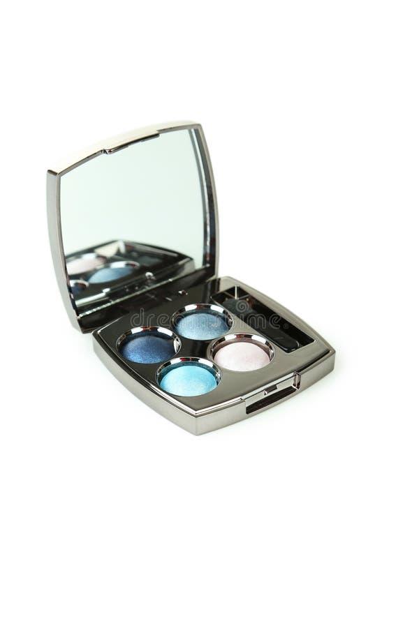 Sombras compactas con el espejo y el cepillo aislados en un blanco imagen de archivo