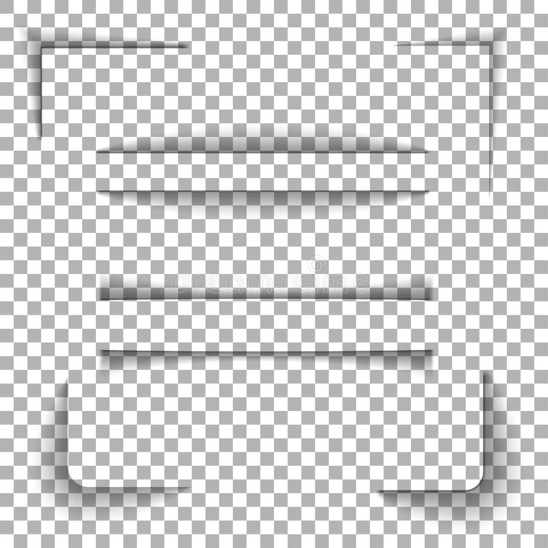 Sombras de papel fijadas stock de ilustración