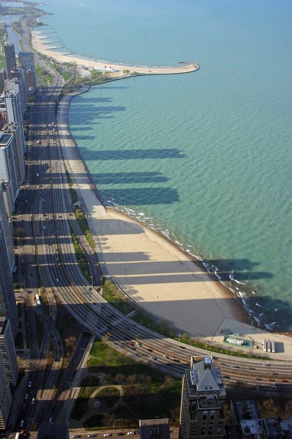 Sombras del horizonte de la ciudad de Chicago, Illinois foto de archivo libre de regalías