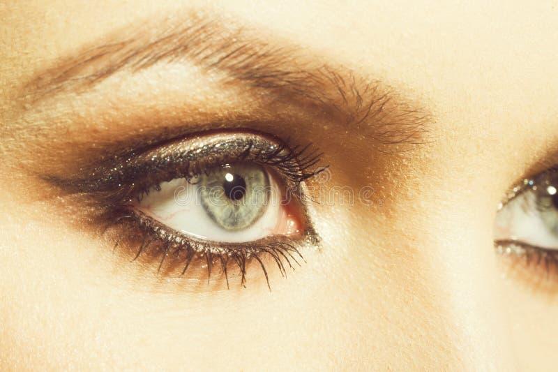Sombras del maquillaje en ojos de la muchacha fotografía de archivo libre de regalías
