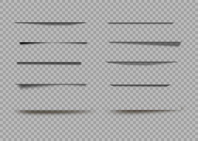 Sombras del vector aisladas Divisor de la página con las sombras transparentes aisladas Sistema de efectos de sombra ilustración del vector