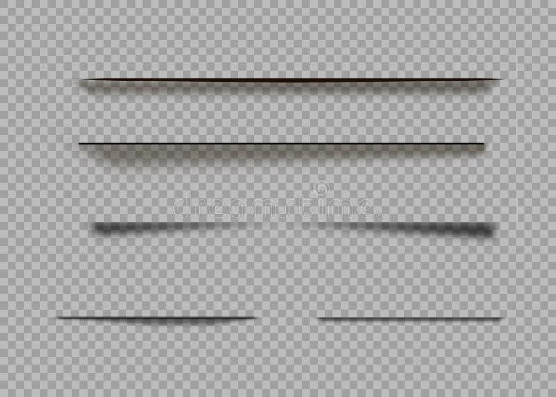 Sombras del vector aisladas Divisor de la página con las sombras transparentes aisladas Sistema de efectos de sombra stock de ilustración