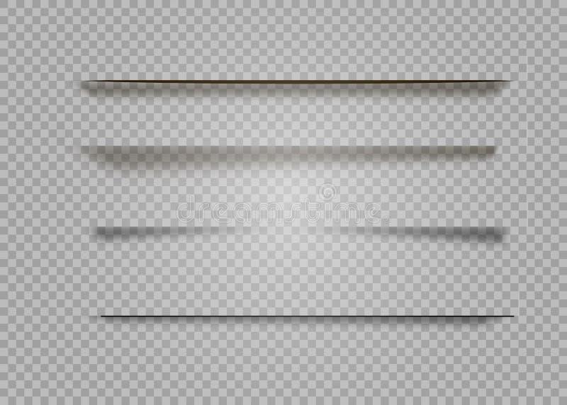 Sombras do vetor isoladas Divisor da página com as sombras transparentes isoladas Grupo de efeitos de sombra ilustração stock
