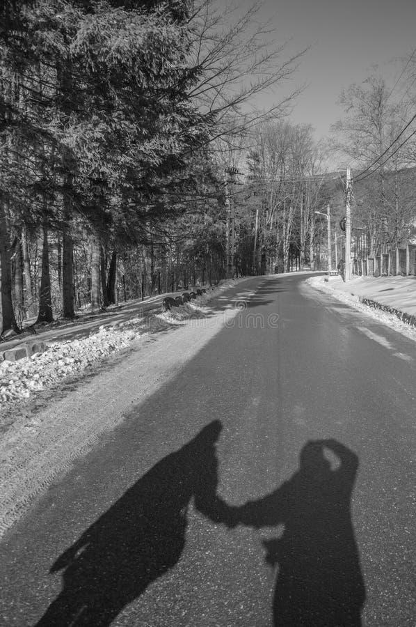 Sombras dos pares que guardam as mãos fotos de stock royalty free