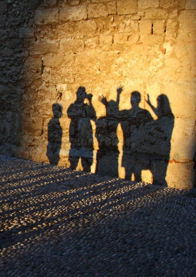 Sombras humanas fotografia de stock