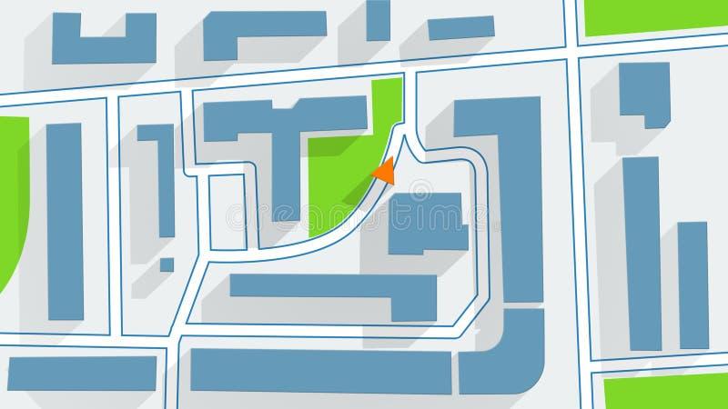 Sombras largas del navegador de GPS del mapa de calle stock de ilustración