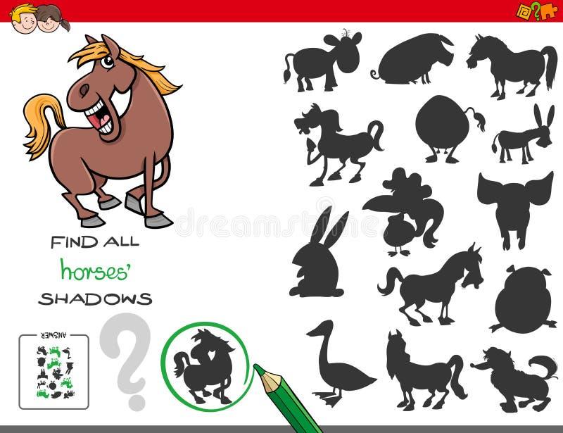 Sombrea el juego con los caracteres del caballo ilustración del vector