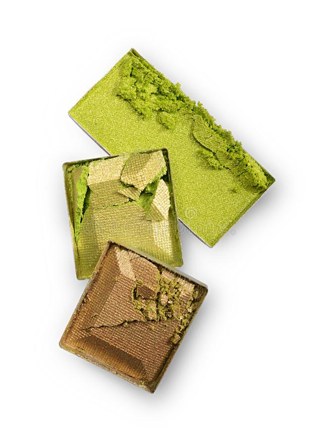 Sombreador de ojos brillante machacado verde y de oro para el maquillaje como muestra de cosmético fotografía de archivo