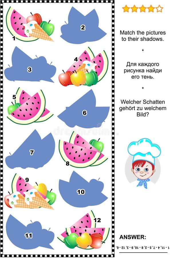 Sombree el juego con las manzanas, el helado y las rebanadas de la sandía libre illustration