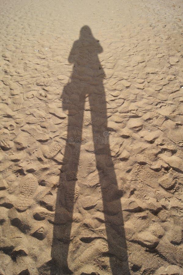 Sombree la silueta de una chica joven en la playa fotografía de archivo