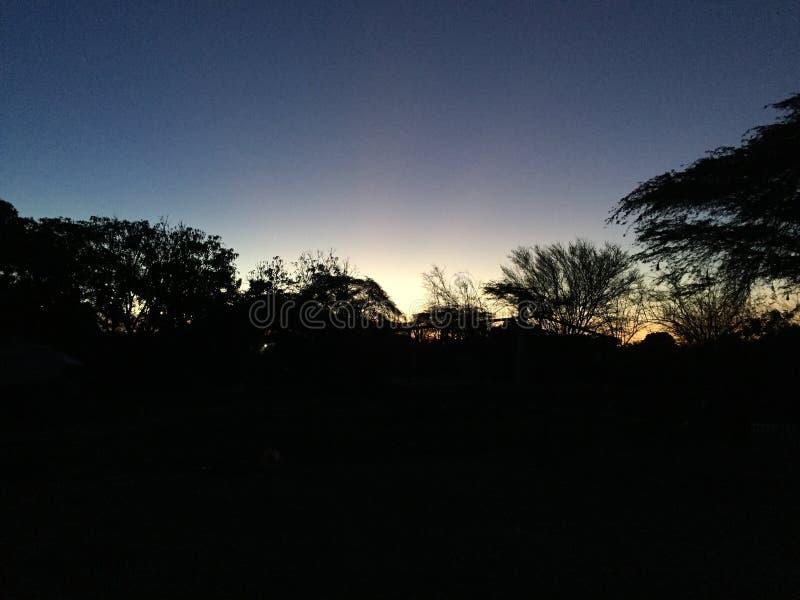 Sombreia o por do sol fotografia de stock