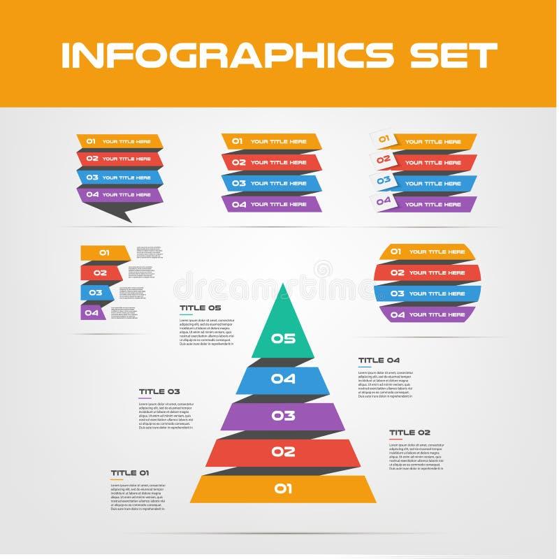 Sombreie a coleção dos elementos de Infographic da fita - ilustração do vetor do negócio no estilo liso do projeto para a apresen ilustração do vetor