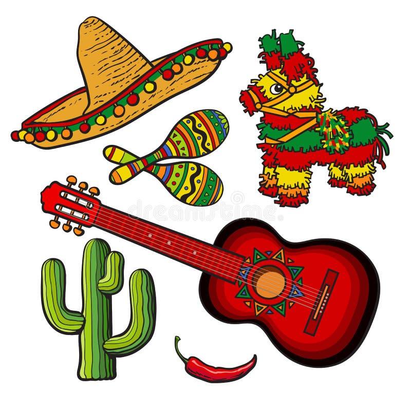 Sombreiro ajustado do mexicano, pinata, maraca, cacto, pimentão e guitarra espanhola ilustração royalty free
