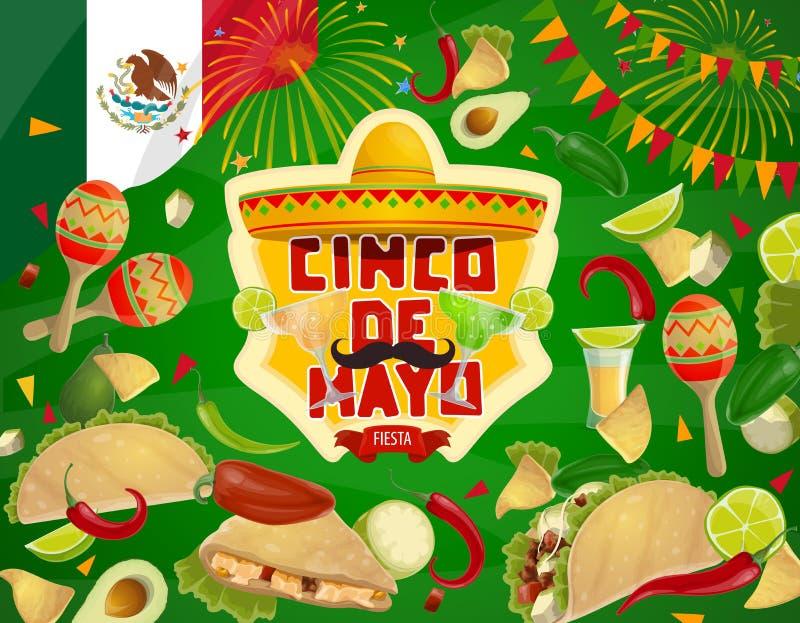 Sombreiro, alimento e bebida mexicanos Cinco De Mayo ilustração stock
