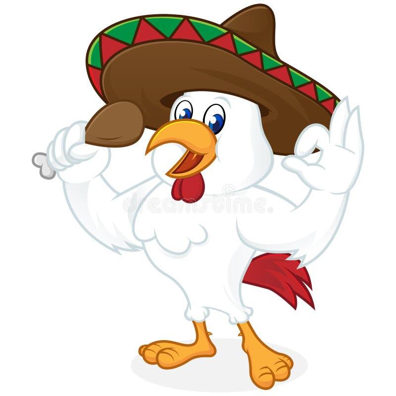 Sombreiro dos desenhos animados da galinha e frango frito vestindo guardar ilustração royalty free