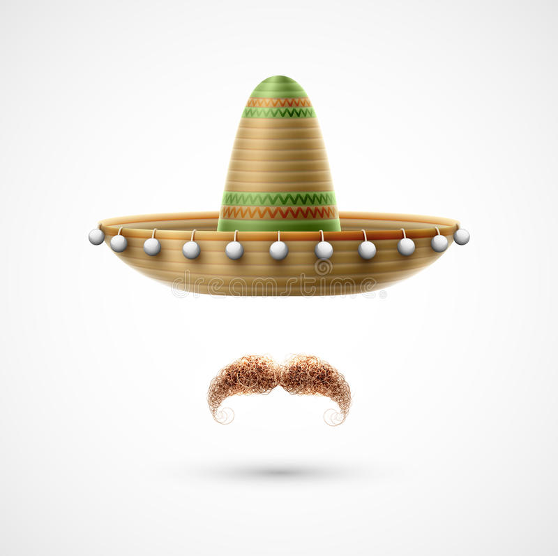 Sombrero и усик бесплатная иллюстрация