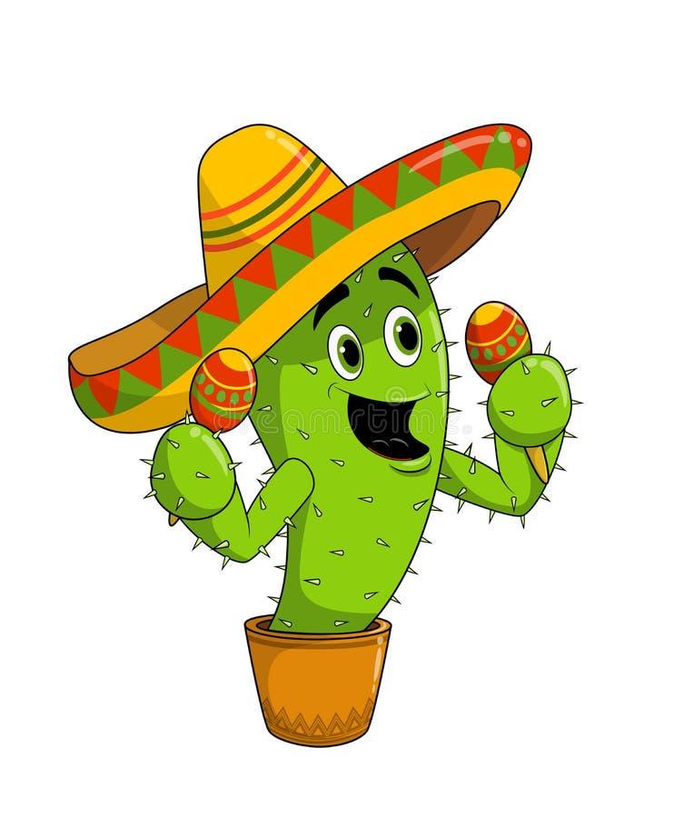 Sombrero милого счастливого кактуса мультфильма нося и maracas игры, изолированные на белой предпосылке иллюстрация штока