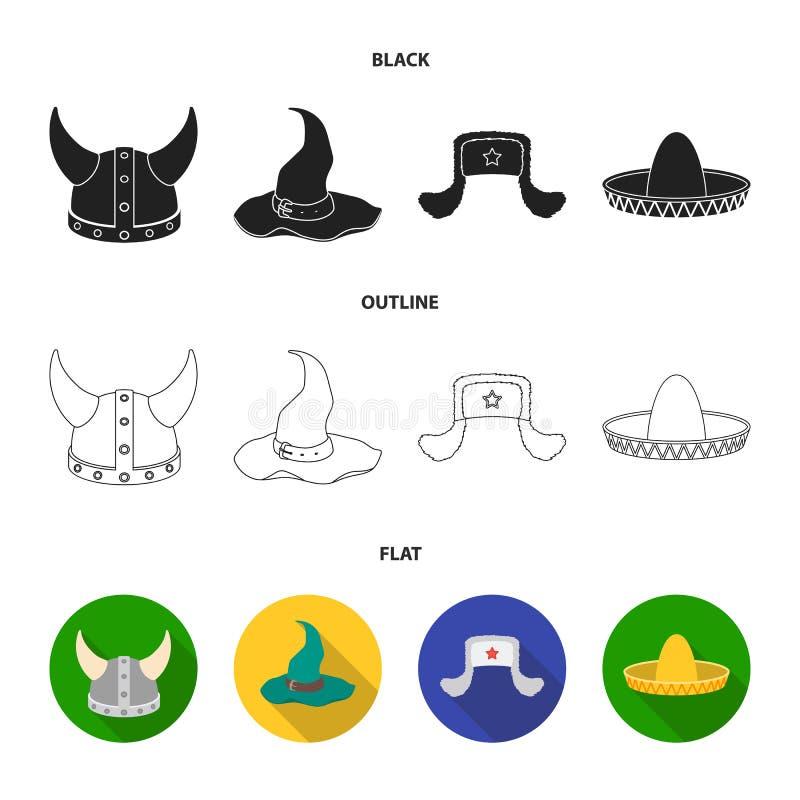 Sombrero, шляпа с ух-щитками, шлем Викинга Установленные шляпами значки собрания в шарже вводят запас в моду символа вектора бесплатная иллюстрация