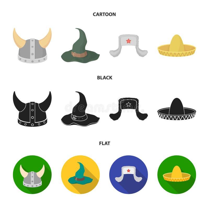 Sombrero, шляпа с ух-щитками, шлем Викинга Шляпы установили значки собрания в шарже, черноте, плоском символе вектора стиля иллюстрация штока