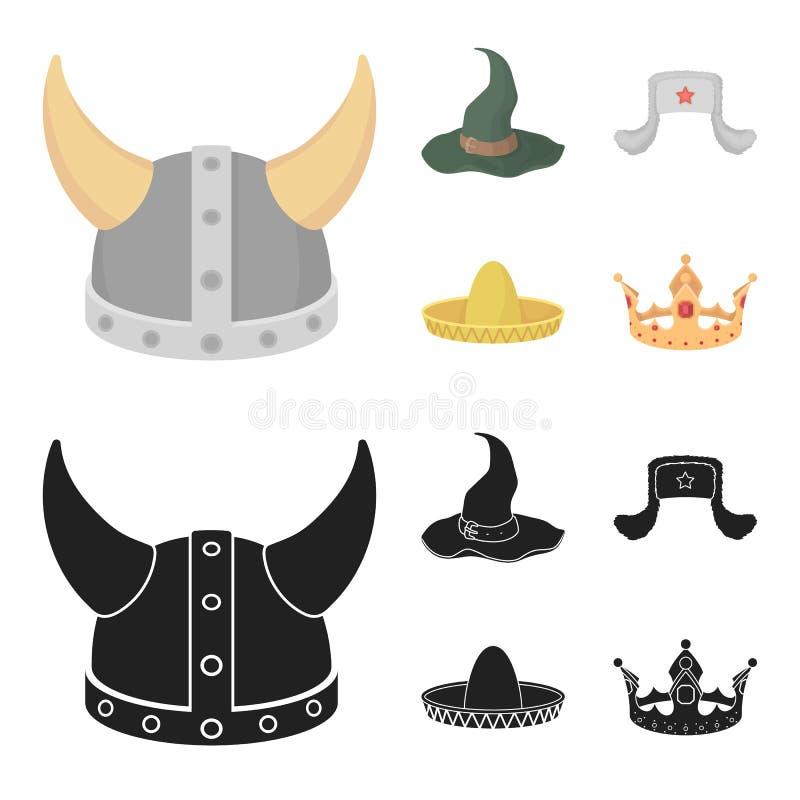 Sombrero, шляпа с ух-щитками, шлем Викинга Шляпы установили значки собрания в шарже, запасе символа вектора стиля черноты иллюстрация штока