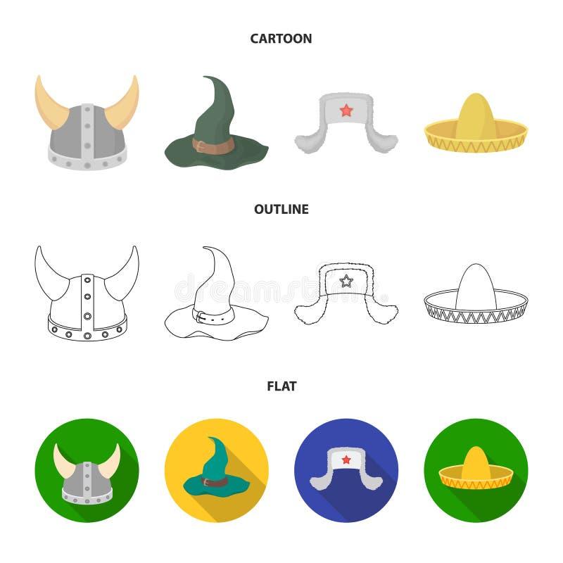 Sombrero, шляпа с ух-щитками, шлем Викинга Шляпы установили значки собрания в шарже, плане, плоском символе вектора стиля иллюстрация вектора