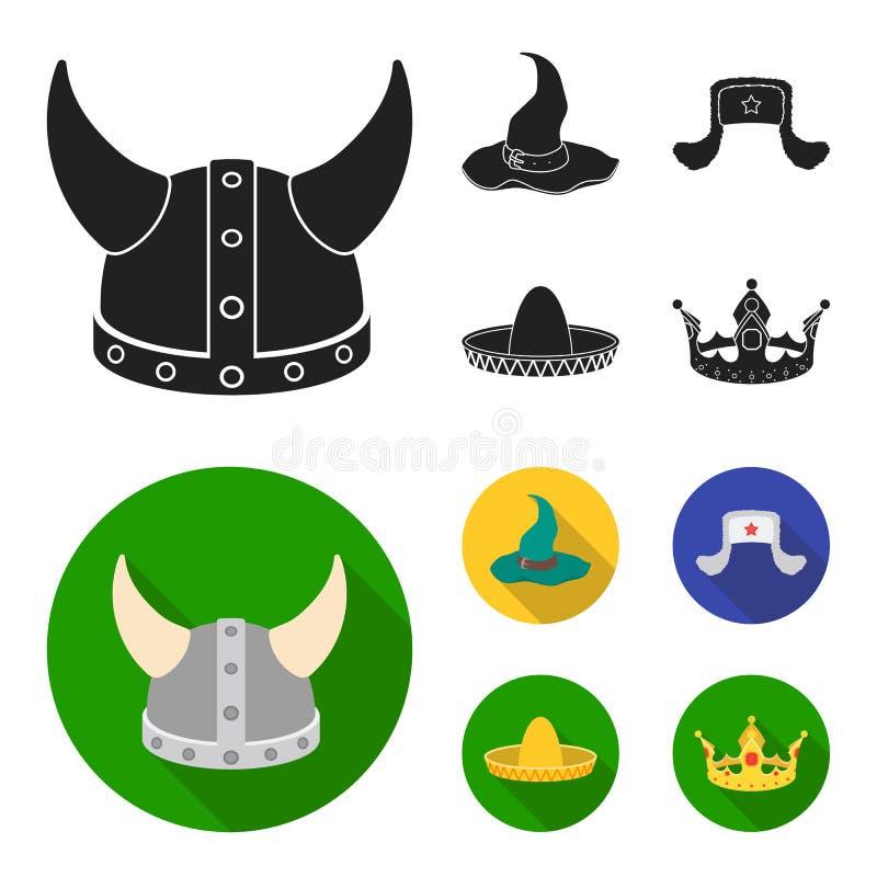 Sombrero, шляпа с ух-щитками, шлем Викинга Шляпы установили значки собрания в черном, плоском запасе символа вектора стиля бесплатная иллюстрация