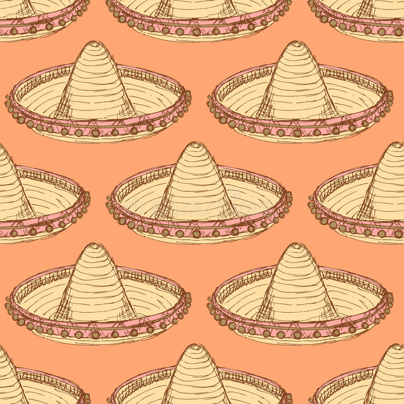 Sombrero эскиза мексиканский в винтажном стиле иллюстрация вектора