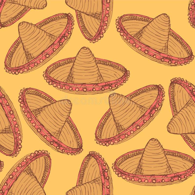 Sombrero эскиза мексиканский в винтажном стиле бесплатная иллюстрация