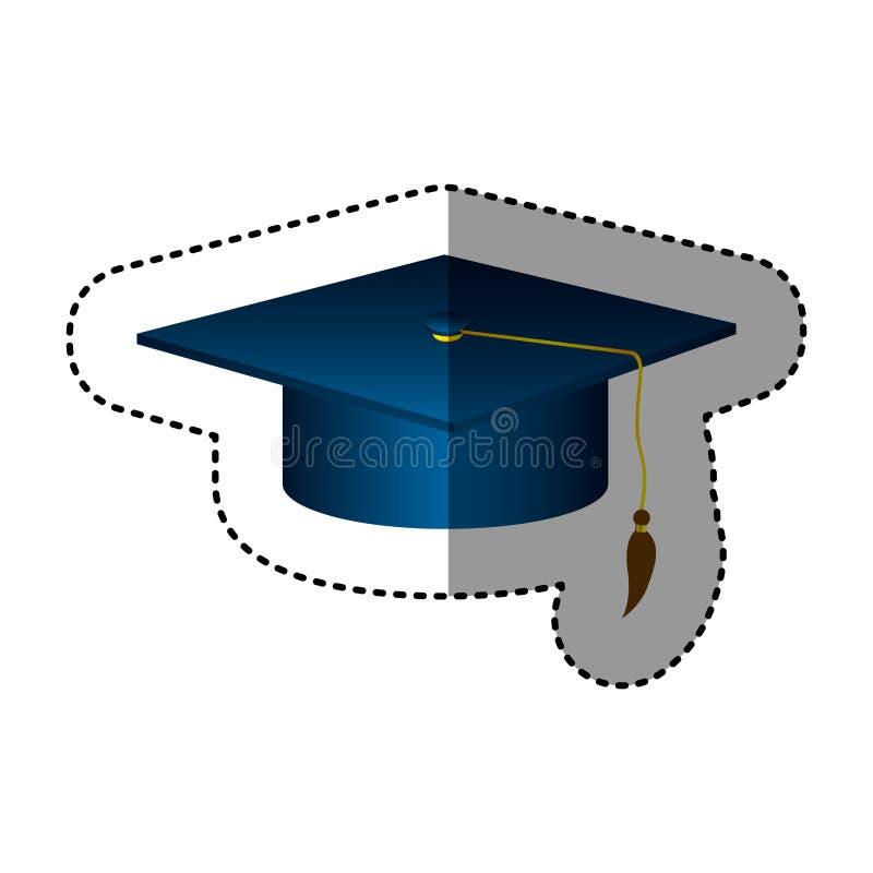 sombrero azul marino de la graduación de la silueta de la etiqueta engomada ilustración del vector
