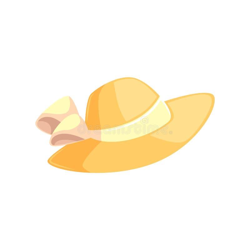 Sombrero bastante femenino del verano de la paja con los bordes anchos stock de ilustración